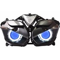 Par Farol Projetor Bi Xenon Retrofit Led Angel Eyes H1 H4 H7