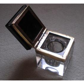 Antiguo Tintero Cristal Tapa Mármol Bronce Y Depósito Vidrio