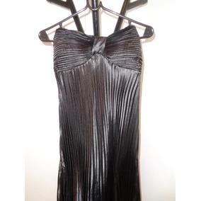 Vestido Largo Strapless Fiesta Dama Negro En Raso Plisado