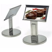 Porta Menu Display De C/ Pé Mesa Aço Inox Pequeno 11x8x7,5cm