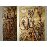 Dom Quixote - 130cm X 50cm - Gravura Em Tela