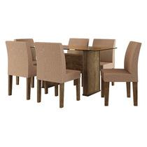 Mesa De Jantar Com 6 Cadeiras Europa Imbuia - Rv Móveis