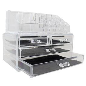 Organizador Porta Maquiagem Pincel Batom Acrilico 4 Gavet
