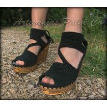 Sandalias Tejidas A Crochet. Con Suela De Goma. Artesanales!