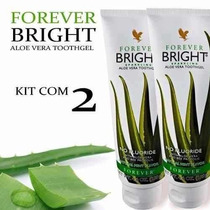 02 Creme Dental Forever Bright Sem Flúor Babosa Aloe Vera