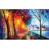 Pintura Em Tela Quadro Paisagem Casal Na Chuva 0,80 X 1,40