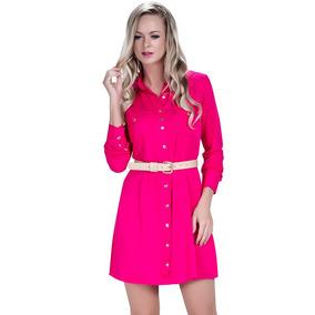 Vestido Chemise Em Sarja Pink Principessa Maria Cecília