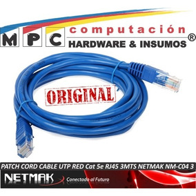 Patch Cord Cable Utp Red Cat 5e Rj45 3mts Netmak Nm-c04 3