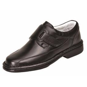 Sapato Social Alcalay Relax Conforto Velcro Mestiço Preto