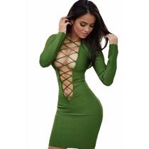 Sexy Vestido Verde Amplio Escote Con Agujetas Table Dance