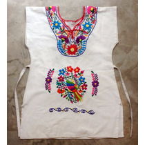 Bata Mexicana Infantil Bordada Original Cru T 8 - Varal