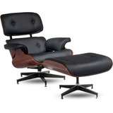 Poltrona Charles Eames C/ Puff Couro Natural / Frete Gratis