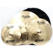 Kit Pratos Fusion Krest Cymbals Chimbal 13 Ataque 16 Ride 20