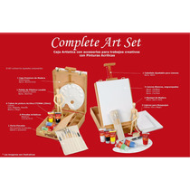 Set Artistico Caja De Madera C/atril + Acrilicos Accsesorios