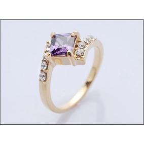 Anel Belíssimo Aro 18 Banhado Ouro 18k Pedra Ametista J1595