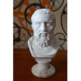 Três Esculturas Bustos Filosofos Po Marmore 15cm Made Italy