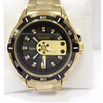 Relógio Masculino Dourado Atlantis Original Luxo