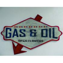 Anuncio Decorativo Tipo Antiguo Gas & Oil, Madera Y Metal.