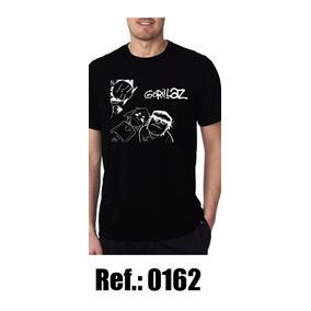 Camisa Gorillaz Preta 100% Algodao Blusa Rock In Roll