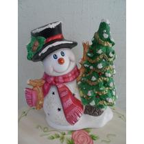 Muñeco Nieve Ceramica Pintado A Mano