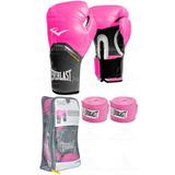 Kit Boxe Muay Thai Luva Pro Style + Bandagem Rosa - Everlast