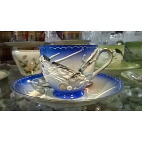 Taza Y Plato De Café De Colección, Dragon Porcelana Japonesa