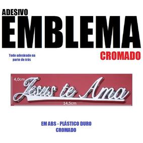 Emblema Evangelico Gospel Adesivo Cromado - Jesus Te Ama