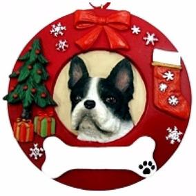 Adorno Navideño Circular Boston Terrier - Ceramica - Hermoso