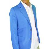 Blazer Slim Azul Bic Semi Brilho Corte Italiano+capa Brinde