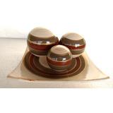 Enfeite Centro De Mesa Quadrado Em Cerâmica Bege C/3 Bolas