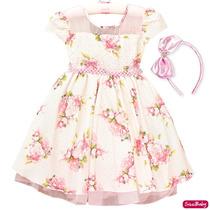 Vestido Infantil Floral Luxo Daminha Carinha De Anjo E Tiara