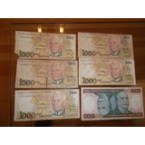 Billetes Cruzeiros Brasileros 1000. Lote De 6 Billetes