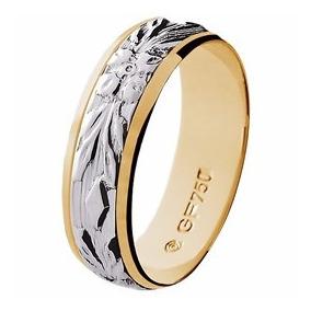 Aliança De Casamento Abaulada Bodas Prat Em Ouro 18k-gf15036