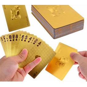 Baralho Dourado Folheado Ouro Cartas De Plástico Poker Truco