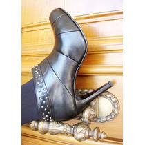 Botas Cuero Negro Con Tachas-plataforma Escondida- Frou Frou