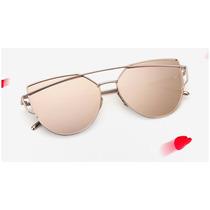 Óculos De Sol Espelhado Di Punch Star Rose Azul Olho De Gato
