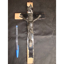 Antigo Crucifixo Em Madeira E Bronze Sec.xix - 30 Cm X 15 Cm