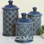 Pote Potiche Decorativo Cerâmica Azul Relevo Com 3 Peças