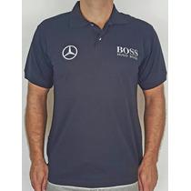 Camisa Polo Mercedes Benz Hugo Boss - Preto - Bordada