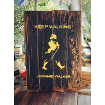 Letrero Whisky Johnnie Walker En Madera, Bar, Decoracion
