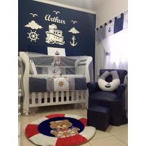 Painel De Parede Mdf Branco Marinheiro Quarto Do Bebê