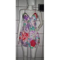 Vestido Cetim De Seda Estampa Floral Tamanho M