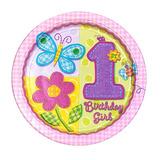 Platos Desechables Grandes 1 Primer Año Flores Y Mariposas