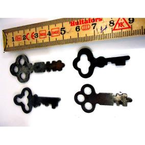 4 Chaves Antigas Móvel, Armário, Chapa Estampada Rara 1mm