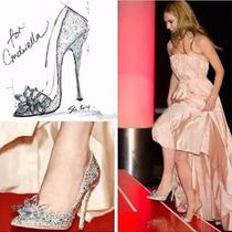 Sapato Feminino Casamento Luxo Brilhantes Bico Fino Elegante