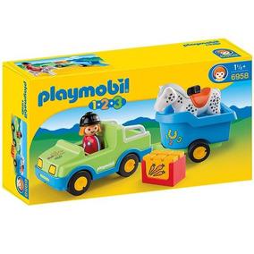 1.2.3 Coche Con Remolque Playmobil 6958