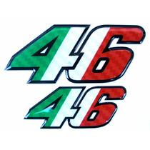 Kit 2 Adesivos 46 Valentino Rossi Resinados Itália Alto Rele