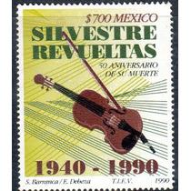 Timbre Postal Silvestre Revueltas 50 Aniv De Su Muerte 1990