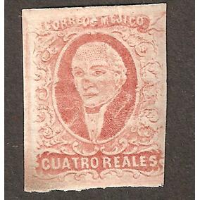 Primera Estampilla México 1856 4 Reales Hidalgo Mexico
