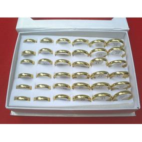 Caixa 36 Alianças 4mm Anatômica Aço Inoxidável 316l Dourada